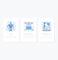 modern technologies - line design style banners vector image