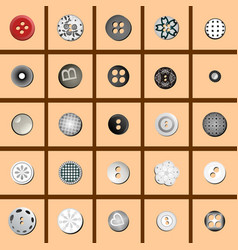 multicolored sewing buttons with a pattern vector image