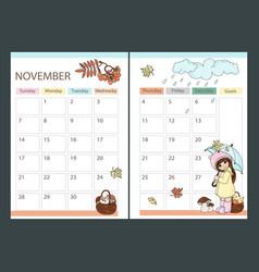 November planner autumn with girl cartoon vector