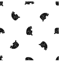 Orangutan pattern seamless black vector