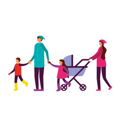 parents with son daugther and baby pram vector image