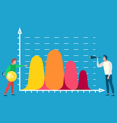 people standing near statistics analysis on board vector image