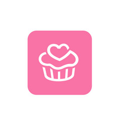 pink cupcake icon square shape icon design vector image