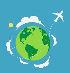 plane travel around world with nature vector image