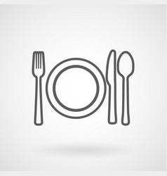 plate knife and fork line icon vector image