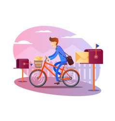 Postman on bicycle delivers letters vector
