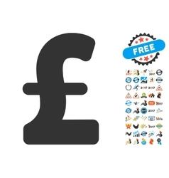 Pound Sterling Icon With 2017 Year Bonus Symbols vector