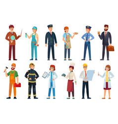 professional workers different jobs professionals vector image
