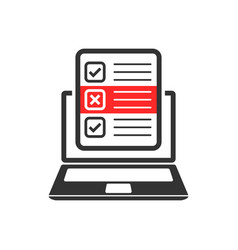 questionnaire laptop icon in flat style online vector image