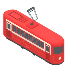 red tram car icon isometric style vector image