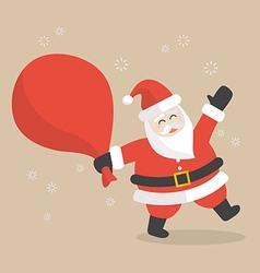 Santa claus with big bag full of gifts vector