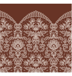 Seamless beige lace vector