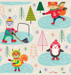 seamless pattern winter with animals on skating vector image