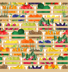 seamless pattern with fresh ripe organic fruits vector image