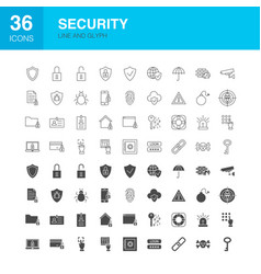 Security line web glyph icons vector