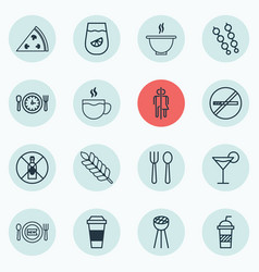 Set of 16 restaurant icons includes grill vector