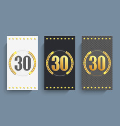 Set of 30th anniversary cards template vector