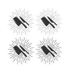 set of restaurant knives icons with sunburst vector image