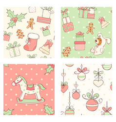 set of seamless christmas patterns in retro style vector image