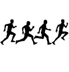 Set silhouettes runners on sprint men vector