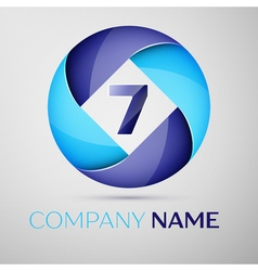 Seven number colorful logo in the circle template vector