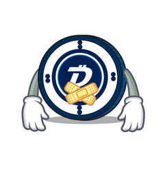 silent digibyte coin mascot cartoon vector image