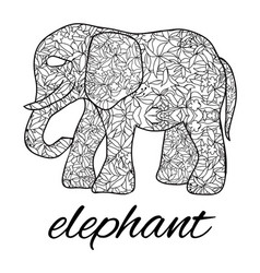 stylized elephant with decorative botanical vector image