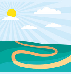 sunny day path rural scenery vector image