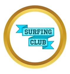 Surf club emblem icon vector