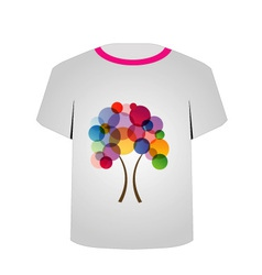 T Shirt Template-Abstract tree vector image