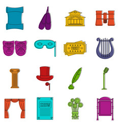 theater icons doodle set vector image