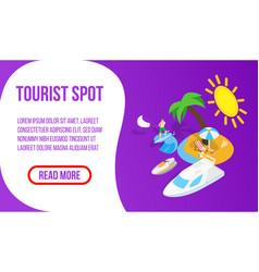 Tourist spot banner isometric style vector