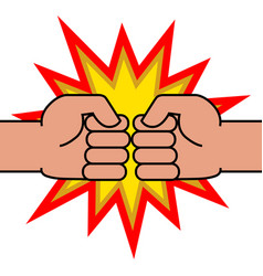 two fists bumping together vector image