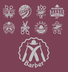 vintage barber logo retro style haircutter vector image
