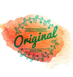 Vintage label with watercolor background vector image