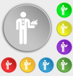 Waiter icon sign Symbol on eight flat buttons vector image