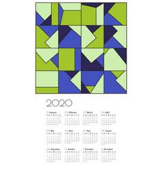 Wall calendar 2020 design template vector