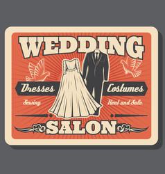 wedding salon bride dress and groom costume rent vector image