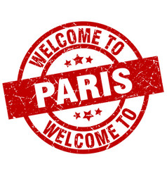 Welcome to paris red stamp vector