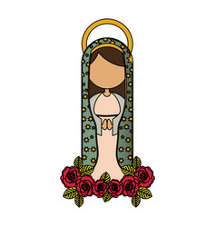White background of colorful faceless virgin of vector