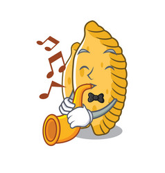 With trumpet pastel mascot cartoon style vector