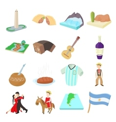 Argentina icons set cartoon style vector image vector image
