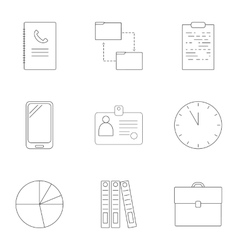 Business time icons set outline style vector