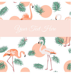 flamingo birds green leaves sunset card template vector image vector image