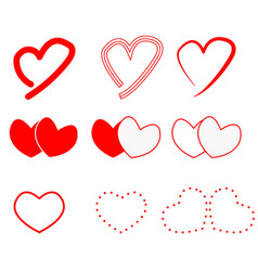 hearts icon on white background hearts sign flat vector image vector image