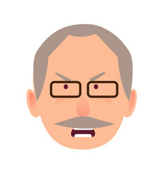 irritated facial expression of elderly man vector image vector image