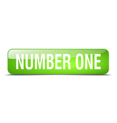 number one green square 3d realistic isolated web vector image vector image