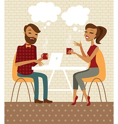 Young couple talking and drinking coffee vector image vector image