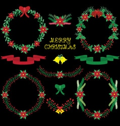 Chalkbard Christmas Floral collections vector image