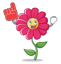 foam finger pink flower character cartoon vector image vector image